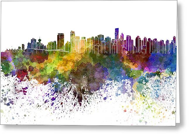 North Vancouver Paintings Greeting Cards - Vancouver skyline in watercolor on white background Greeting Card by Pablo Romero