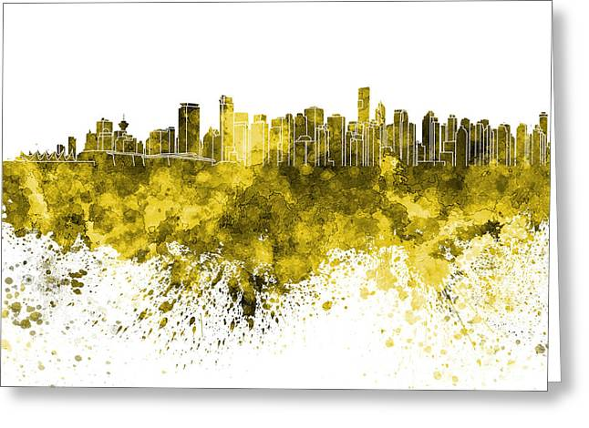 Vancouver Skyline In Yellow Watercolor On White Background Greeting Card by Pablo Romero