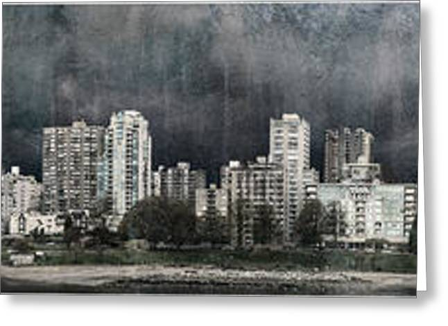 Gathering Greeting Cards - Vancouver skyline with rain clouds gathering Greeting Card by Peter v Quenter