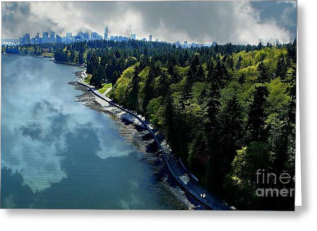 Lions Gate Bridge Digital Greeting Cards - Vancouverscape Greeting Card by Doria Fochi