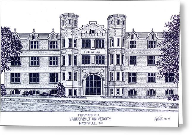 College Campus Buildings Drawings Greeting Cards - Vanderbilt-Furman Hall Greeting Card by Frederic Kohli