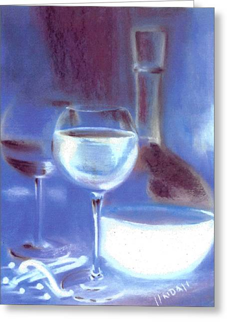 Decanters Pastels Greeting Cards - Vanilla Blues Greeting Card by Linda Lindall