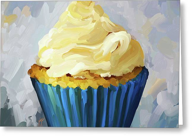 Reception Paintings Greeting Cards - Vanilla Cupcake Greeting Card by Jai Johnson