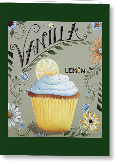 Lemon Art Paintings Greeting Cards - Vanilla Lemon Cupcake Greeting Card by Catherine Holman