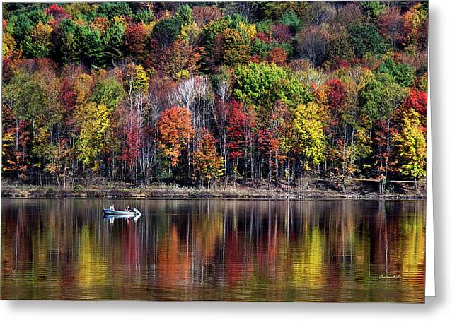 Vanishing Autumn Reflection Landscape Greeting Card by Christina Rollo