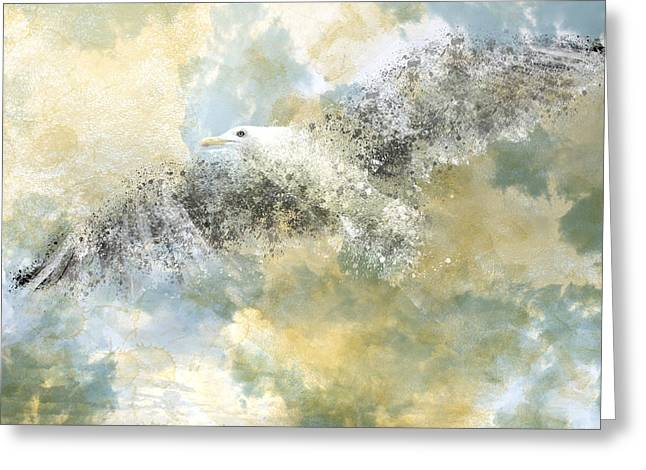 Flying Seagull Digital Art Greeting Cards - Vanishing Seagull Greeting Card by Melanie Viola
