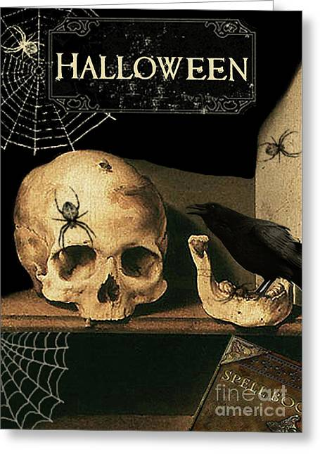 Vanitas Skull And Raven Greeting Card by Striped Stockings Studio
