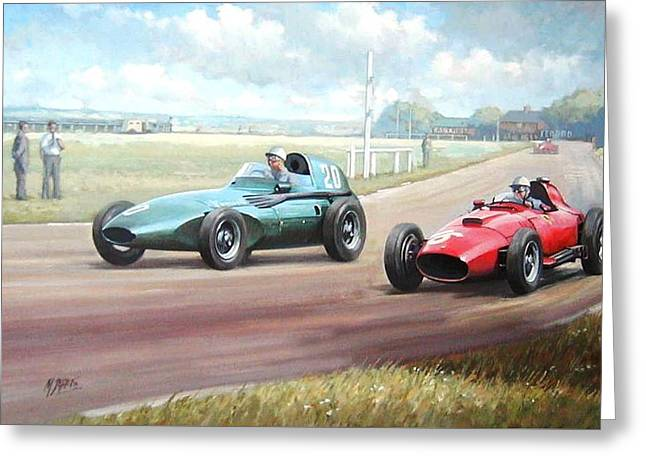 Grand Prix Racing Greeting Cards - Vanwall victory Greeting Card by Mike  Jeffries