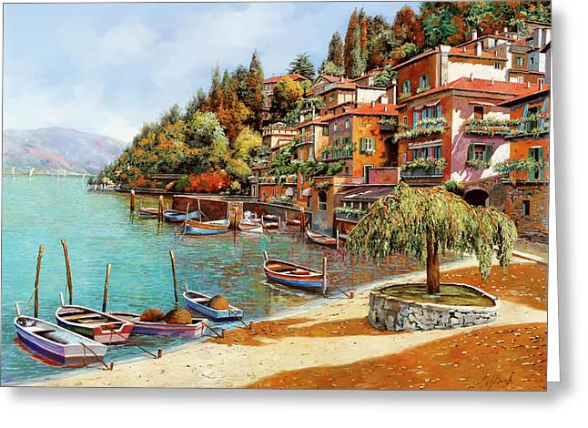 Shadows Greeting Cards - Varenna on Lake Como Greeting Card by Guido Borelli