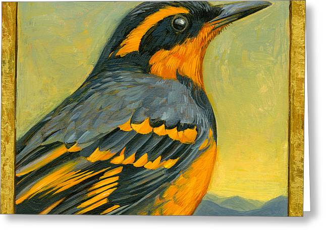 Thrush Greeting Cards - Varied Thrush Greeting Card by Francois Girard