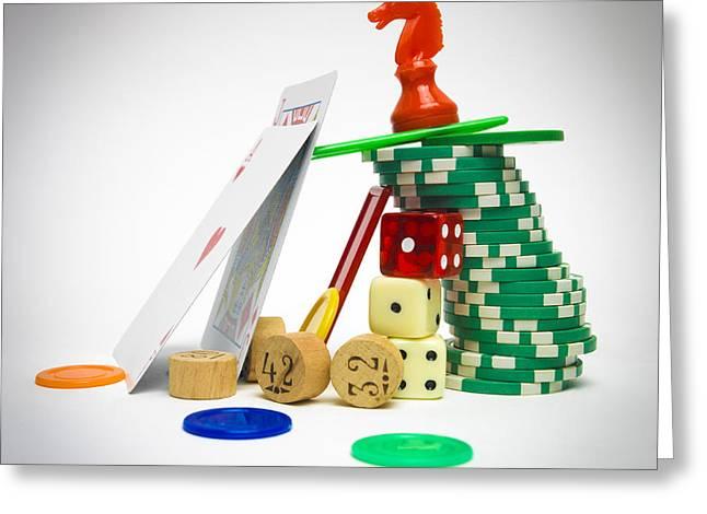 Game Piece Greeting Cards - Variety of games Greeting Card by Bernard Jaubert