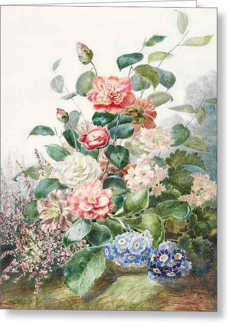 Various Flowers Growing In A Landscape Setting Greeting Card by Antoine Pascal