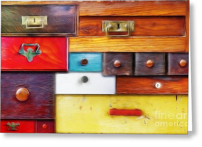 Hidden Spaces Greeting Cards - Various Old Drawers - In Utter Secrecy Greeting Card by Michal Boubin