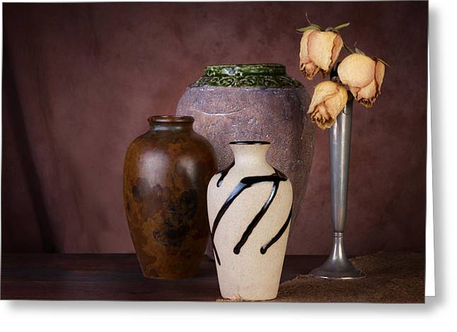 Vase And Roses Still Life Greeting Card by Tom Mc Nemar