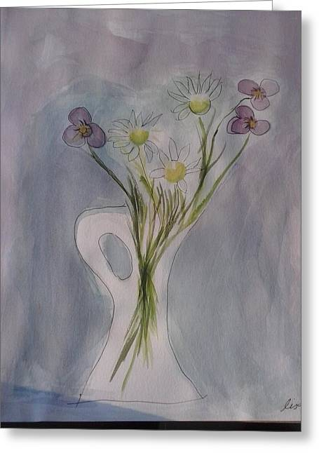 Daisy Tapestries - Textiles Greeting Cards - Vase flowers Greeting Card by Lisa LaMonica