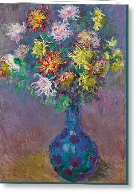 Vase Of Chrysanthemums Greeting Card by Claude Monet