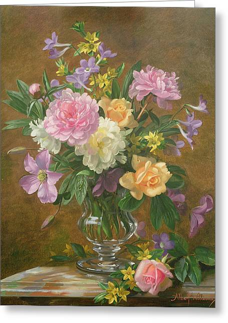 Tasteful Art Greeting Cards - Vase of Flowers Greeting Card by Albert Williams