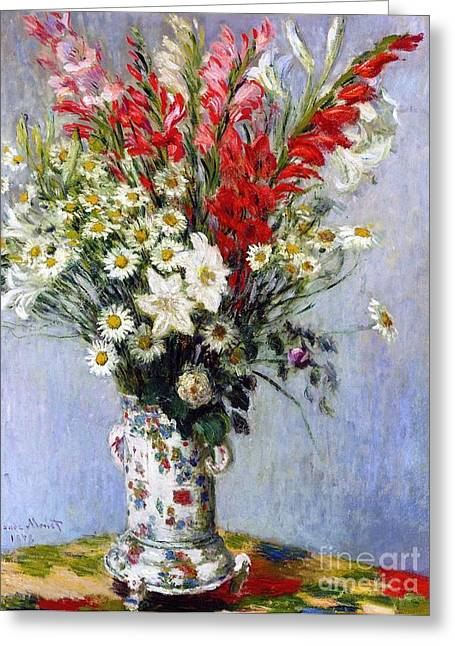 Gladiolus Greeting Cards - Vase of Flowers Greeting Card by Claude Monet