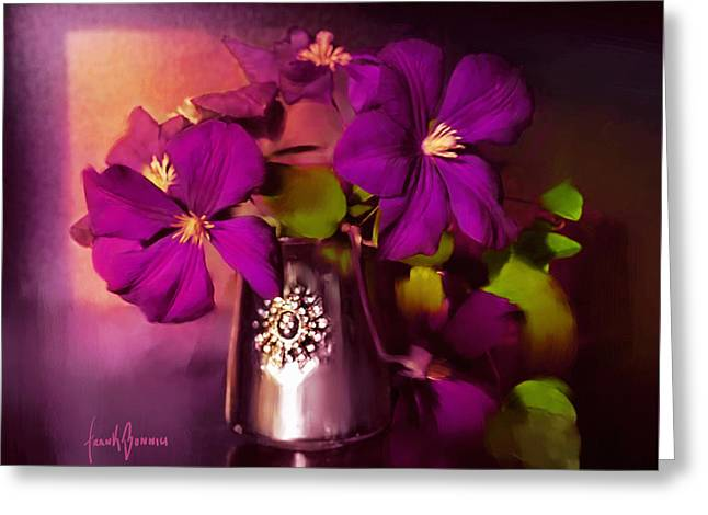 Vase Of Flowers Greeting Card by Frank Bonnici