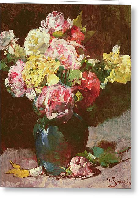 Vase Of Flowers Greeting Card by Georges Jeannin