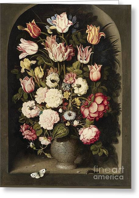 Vase Of Flowers Greeting Cards - Vase of Flowers in a Stone Niche Greeting Card by Celestial Images