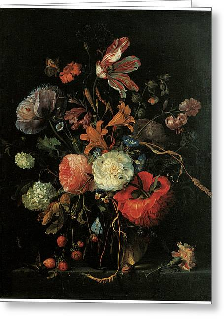 Jacobs Greeting Cards - Vase of Flowers Greeting Card by Jacob Van Walscapelle