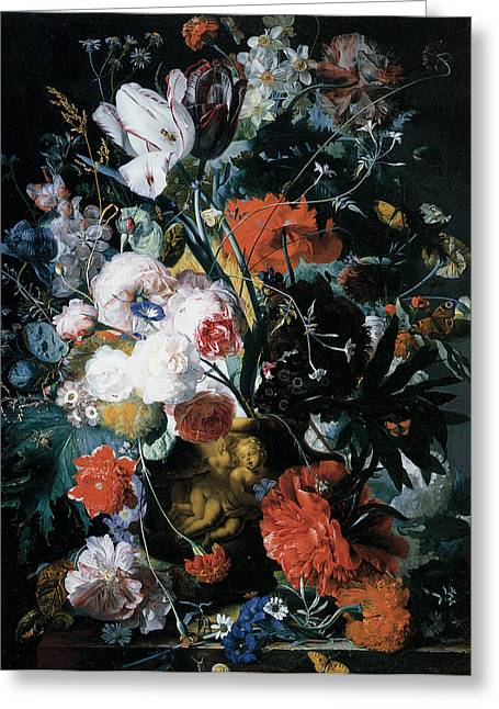 Vase Of Flowers Greeting Card by Jan Van Huysum