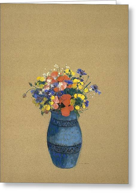 20th Pastels Greeting Cards - Vase of Flowers Greeting Card by Odilon Redon