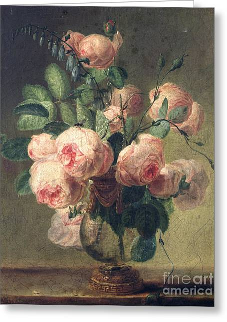 Pre-19th Greeting Cards - Vase of Flowers Greeting Card by Pierre Joseph Redoute