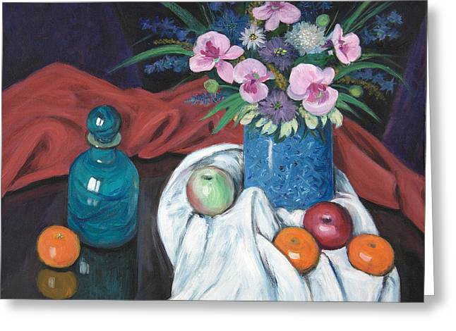 Glass Table Reflection Paintings Greeting Cards - Vase of Flowers Greeting Card by Sandra Delaney