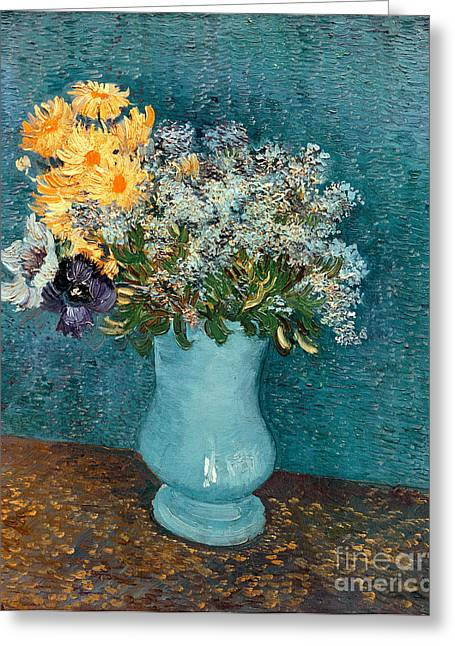 Gogh Greeting Cards - Vase of Flowers Greeting Card by Vincent Van Gogh