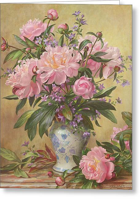 Ceramic Paintings Greeting Cards - Vase of Peonies and Canterbury Bells Greeting Card by Albert Williams