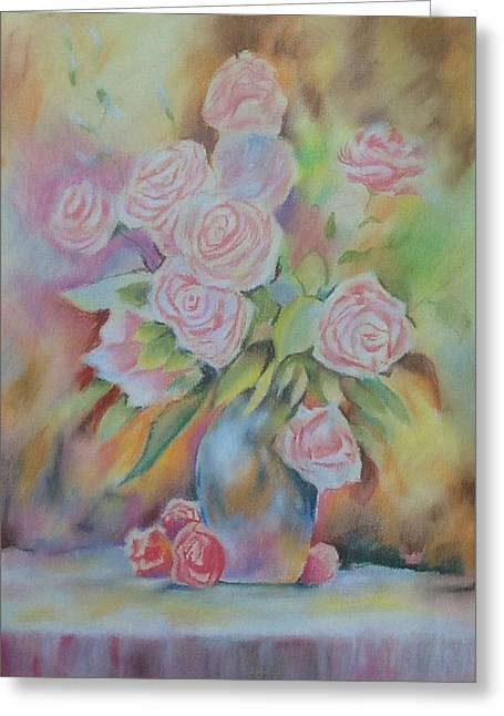 Vase Of Flowers Pastels Greeting Cards - Vase of pink roses Greeting Card by Lynsey Loughrey
