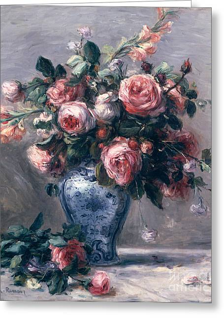 Pink Roses Greeting Cards - Vase of Roses Greeting Card by Pierre Auguste Renoir