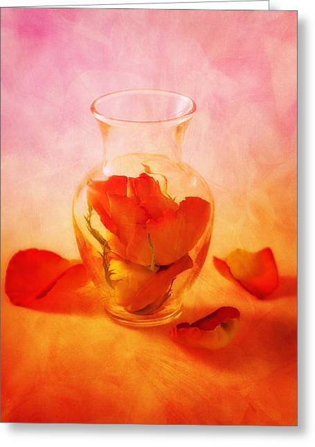 Tabletop Greeting Cards - Vase of Roses Still Life Greeting Card by Tom Mc Nemar
