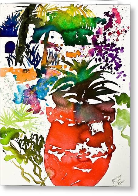 Red Art Greeting Cards - Vase rouge   Maroc Greeting Card by Simon Fletcher