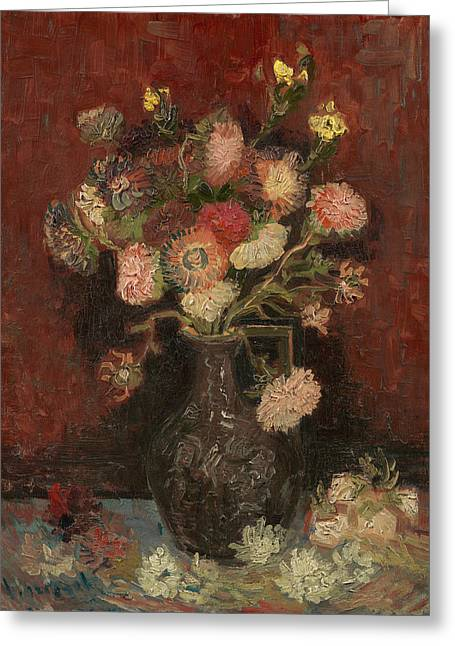 Asters Paintings Greeting Cards - Vase with Chinese asters and gladioli Greeting Card by Vincent van Gogh