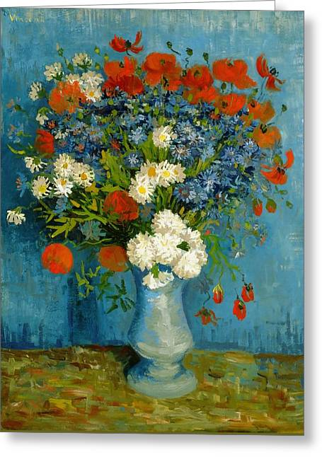 Vincent Van Gogh Greeting Cards - Vase With Cornflowers And Poppies Greeting Card by Van Gogh