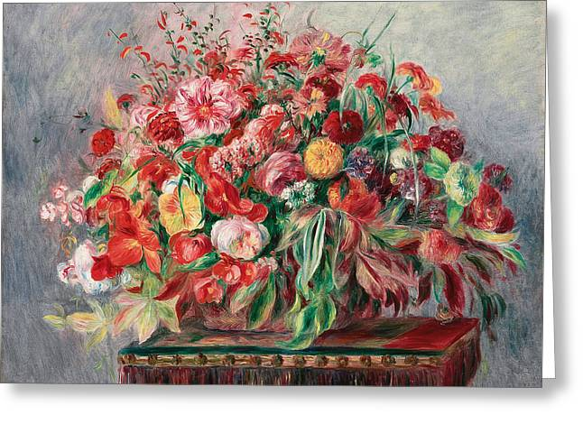 Flower Baskets Greeting Cards - Vase with Flowers Greeting Card by Pierre Auguste Renoir