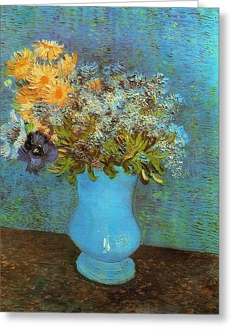 Vincent Van Gogh Greeting Cards - Vase With Flowers Greeting Card by Van Gogh