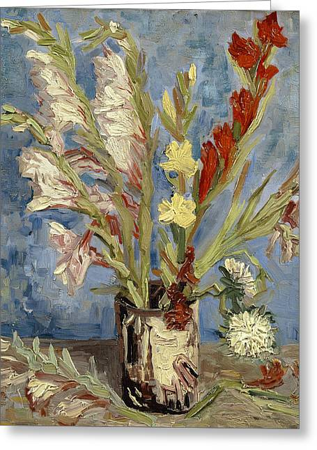 Asters Paintings Greeting Cards - Vase with gladioli and China asters Greeting Card by Vincent van Gogh