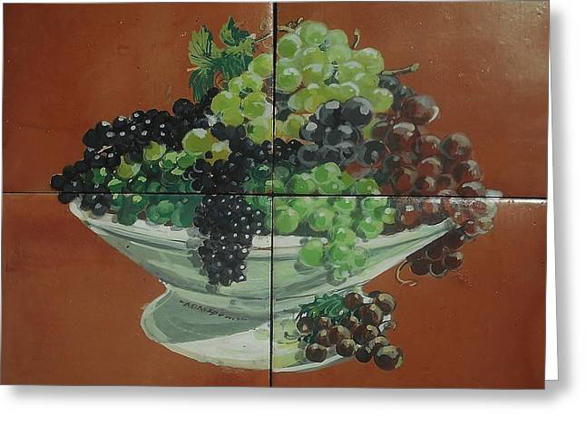 Food And Beverage Ceramics Greeting Cards - Vase With Grapes Greeting Card by Andrew Drozdowicz