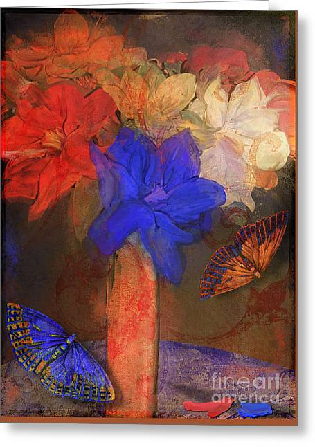 Cobalt Blues Greeting Cards - Vase with Magnolias Greeting Card by Mindy Sommers