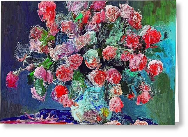 Vase With Nice Flowers Greeting Card by Yury Malkov