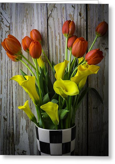 Vase With Tulips And Callas Greeting Card by Garry Gay