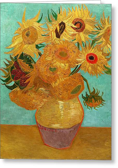 Table Greeting Cards - Vase with Twelve Sunflowers Greeting Card by Van Gogh