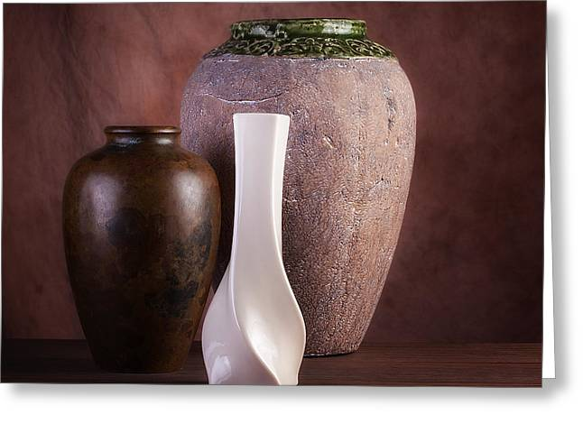 Vases With A Twist Greeting Card by Tom Mc Nemar
