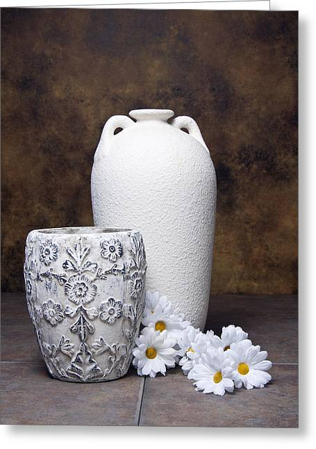Vases With Daisies I Greeting Card by Tom Mc Nemar