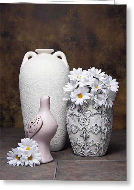 Vases With Daisies II Greeting Card by Tom Mc Nemar