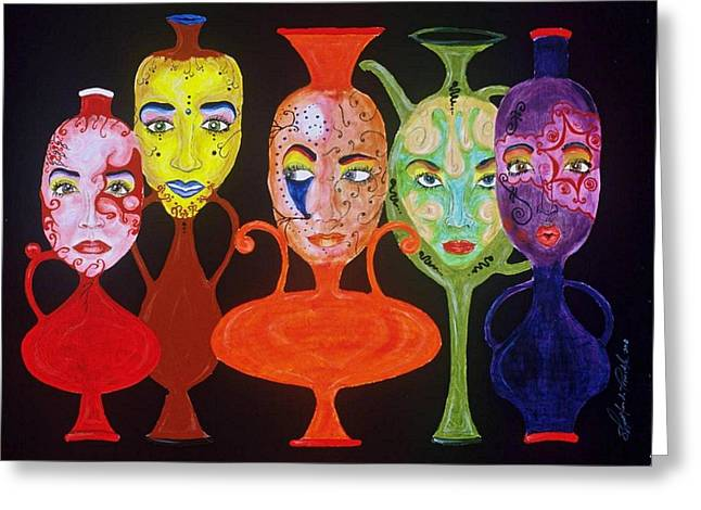 Vases With Faces Greeting Card by Shellton Tremble